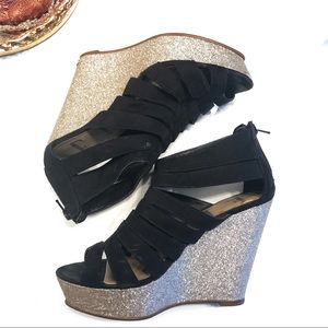 Strappy Glitter Wedges